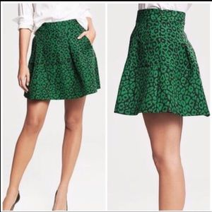Banana Republic Leopard Fit And Flare Lined Skirt